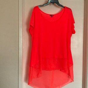 fluorescent orange blouse